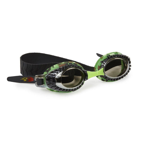 Black with camouflage trim swimming goggles with head strap