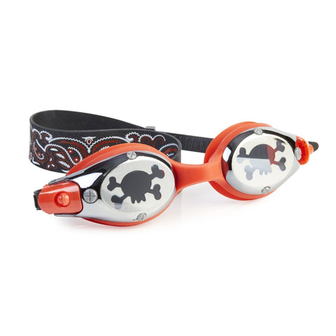 Black and Red Swimming Goggles with skull print on lens and pattern on head strap