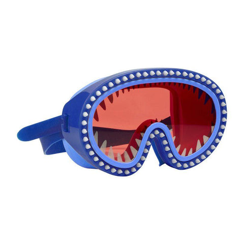 Blue swimming mask with Red lens and shark teeth details and headstrap