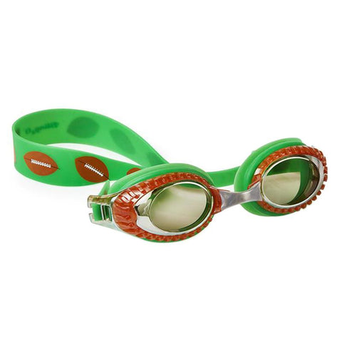 Green american football themed swimming goggles with american football detail around lens
