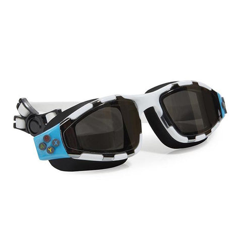 White and black swimming goggles with controller buttons details on the side and headstrap
