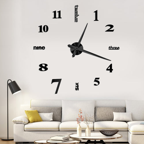YESURPRISE 3D Frameless Large Wall Clock Modern Mute Mirror Surface DIY Room Home Office Decorations- Black