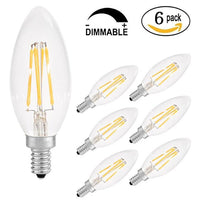 Candelabra LED Bulb Dimmable E12 Base,6W=50W Equivalent 2700K Antique Patio Wall Ceiling Festival Bar Decoration LED Chandelier Lights Sharp Tip - 5Pack