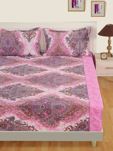 Swayam 160TC Swayam Veda Motifs King Fitted Sheet Set
