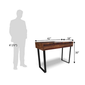Industrial Console Table In Dark Honey Polish With One Year Warranty