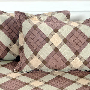 Swayam 200TC Geometrical Print Cotton Double Fitted Sheet with 2 Pillow Cover