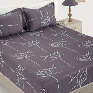 Swayam 200TC Abstract Design Cotton Double Fitted Sheet with 2 Pillow Covers