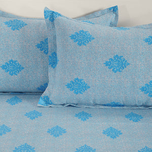 Swayam 180TC Motifs Print Cotton Double Fitted Sheet with 2 Pillow Covers
