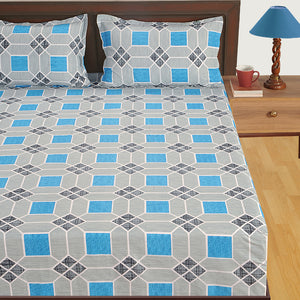 Swayam 180TC Geometrical Print Cotton Double Fitted Sheet with 2 Pillow Covers