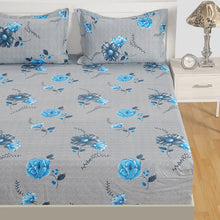 Swayam 180 TC Floral Print Cotton Double Fitted Sheet with 2 Pillow Cover