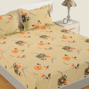 Swayam 180TC Floral Print Cotton Double Fitted Sheet with 2 Pillow Covers