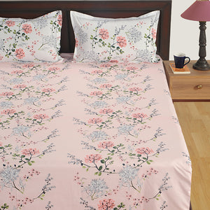 Swayam 180TC Floral Design Cotton Double Fitted Sheet with 2 Pillow Cover