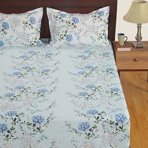 Swayam 180TC Floral Design Cotton Double Fitted Sheet with 2 Pillow Covers