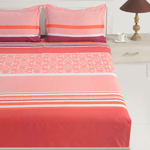 Swayam 144TC Stripes Print Cotton Double Fitted Sheet with 2 Pillow Cover