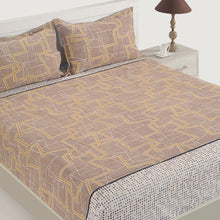 Swayam 144TC Geometrical Print Cotton Double Fitted sheet with 2 Pillow Cover