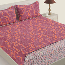 Swayam 144TC Geometrical Print Cotton Double Fitted sheet with 2 Pillow Covers