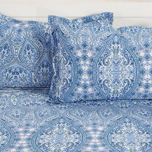 Swayam 144TC Motifs Print Cotton Double Fitted Sheet with 2 Pillow Covers