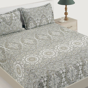 Swayam 144TC Motifs Design Cotton Double Fitted Sheet with 2 Pillow Cover