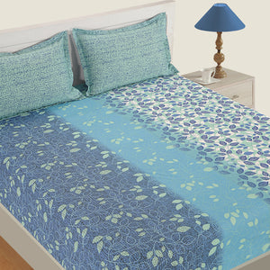 Swayam 144TC Floral Cotton Double Fitted Sheet with 2 Pillow Covers