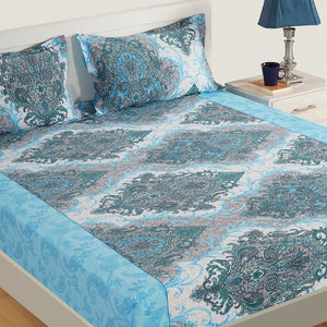 Swayam 160TC Motifs Print Cotton Double Fitted Sheet with 2 Pillow Cover