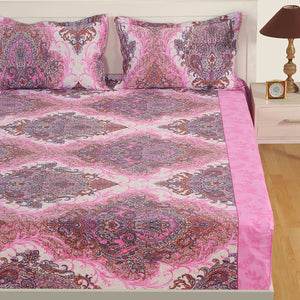 Swayam 160TC Motifs Print Cotton Double Fitted Sheet with 2 Pillow Covers