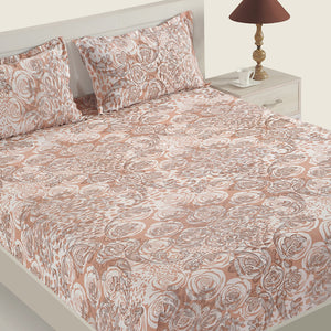 Swayam 160TC Motifs Design Cotton Double Fitted Sheet with 2 Pillow Cover
