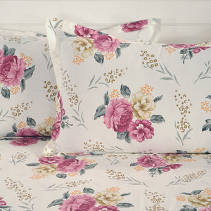 Swayam 250TC Floral Print Cotton Satin Double Fitted Sheet with 2 Pillow Cover