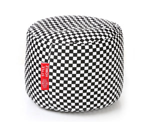 Black and White Large Ottoman Checkered Bean Bag With Fillers (Ottoman)