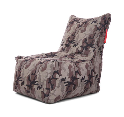Grey XXL Chair Camouflage Printed Bean Bag With Fillers (Bean Bag)