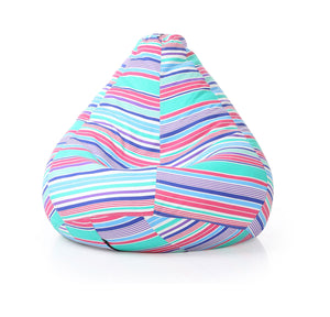 Blue XXL Classic Stripes Printed Bean Bag With Fillers (Bean Bag)