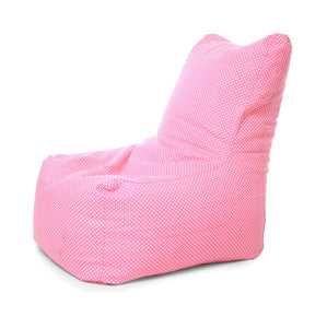 Pink XXL Chair Polka Dots Printed Bean Bag With Fillers (Bean Bag)