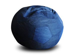 Blue XXXL Football Bean Bag Denim Cover Without Fillers (Bean Bag)