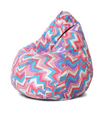 Blue XL Geometric Bean Bag Cover Without Fillers (Bean Bag)