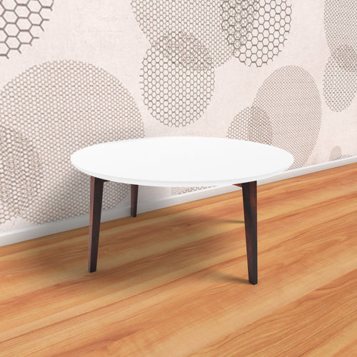 Vibrant Round Centre Table In White Finish With One Year Warranty