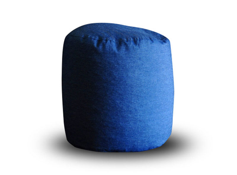 Blue Large Denim Round Ottoman Cover Without Fillers (Ottoman)