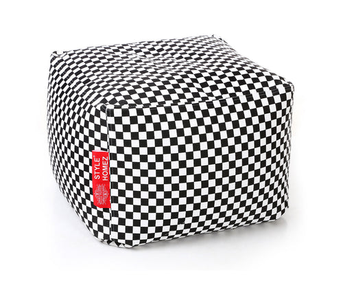 Black and White Large Ottoman Square Bean Bag With Fillers (Ottoman)