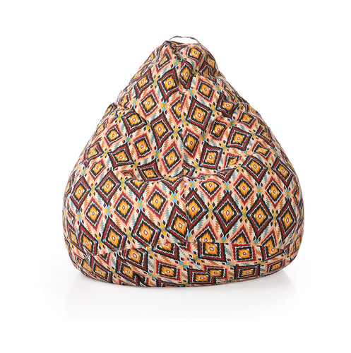 Brown XXL Geometric Bean Bag With Fillers (Bean Bag)