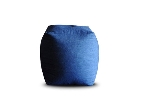 Blue Large Denim Square Ottoman Cover Without Fillers (Ottoman)