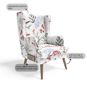 Stoa Paris Plush Recharge Wing Chair In Printed Fabric With 1000 Days Warranty