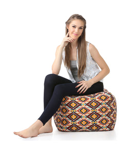 Brown Large Ottoman Square Bean Bag With Fillers (Ottoman)