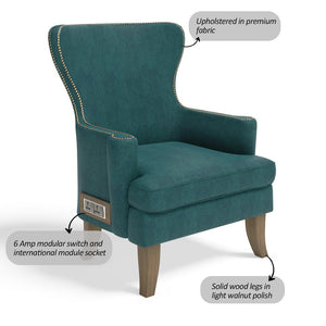 Stoa Paris Classic Recharge Wing Chair Blue With 1000 Days Warranty