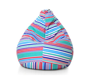 Blue XL Stripes Bean Bag Cover Without Fillers (Bean Bag)