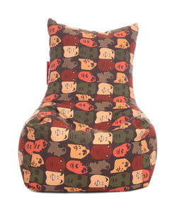 Multi Colour XXL Chair Abstract Printed Bean Bag With Fillers (Bean Bag)