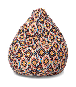 Brown XL Geometric Bean Bag Cover Without Fillers (Bean Bag)
