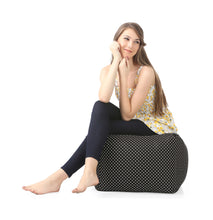Black Large Ottoman Square Bean Bag With Fillers (Ottoman)