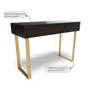 Industrial Console Table In Ebony Polish With One Year Warranty