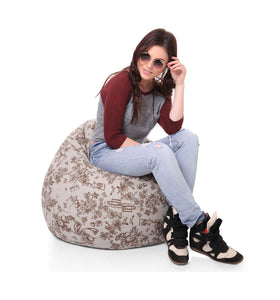 Multi Colour XL Classic Abstract Printed Bean Bag With Fillers (Bean Bag)