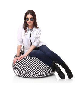 Black and White XL Checkered Bean Bag Cover Without Fillers (Bean Bag)