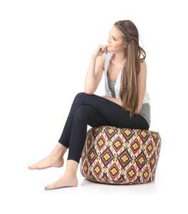 Brown Large Ottoman Geometric Bean Bag With Fillers (Ottoman)