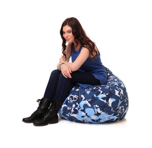 Blue XL Classic Floral Cover Without Fillers (Bean Bag)